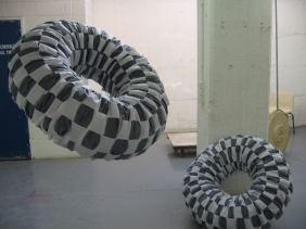 Blue Doughnuts, 2007, installed in studio space