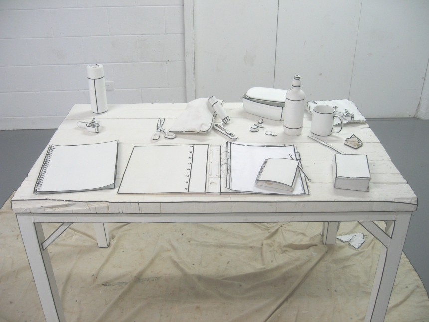 Sketched Worksite, 2008, Assorted Objects, Desk, White Paint, Black Tape